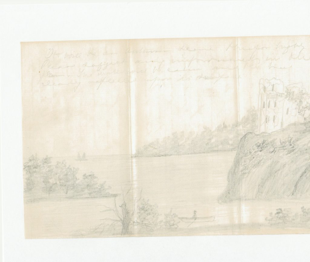 Sketch by Annie Cox of the Lake Mendota Lakeshore. Allen Family Papers, Newberry Library, Chicago.